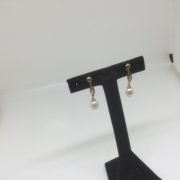 Preowned 9 carat yellow gold freshwater pearl and cz drop earrings