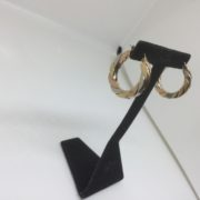 Preowned 9 carat 3 colour gold hoop earrings