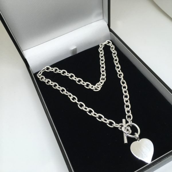 Sterling silver heart t-bar necklace