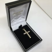 9 carat 2 colour reversible CZ cross
