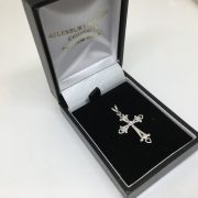 18 carat white gold diamond cross