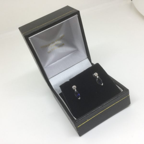 Preowned 18 carat white gold sapphire and diamond earrings