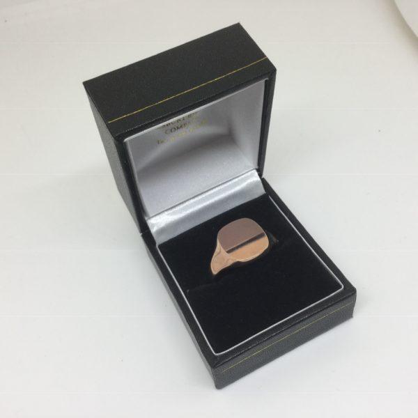 9 carat rose gold square signet ring