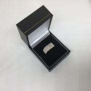 9 carat white gold rectangle diamond set signet  ring