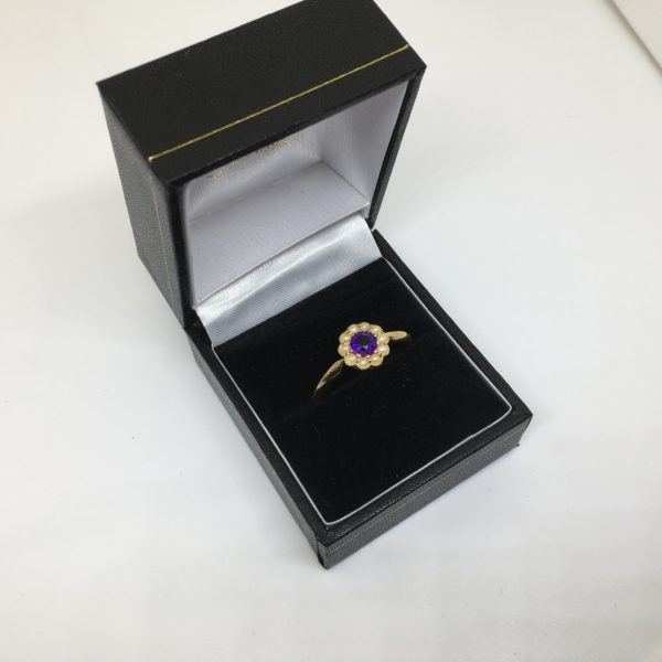 Preowned 18 carat pearl and amethyst ring