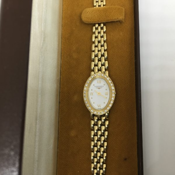 Preowned 18 carat yellow gold diamond ladies Longines watch
