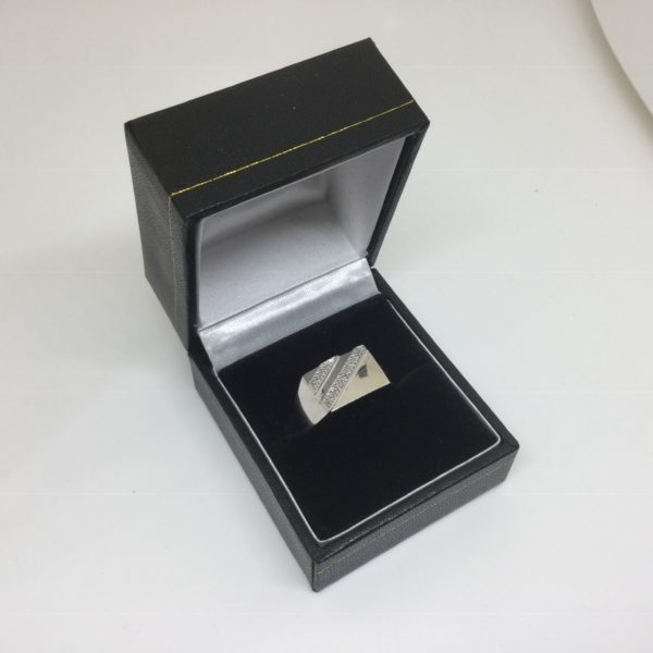 9 carat white gold diamond set signet ring