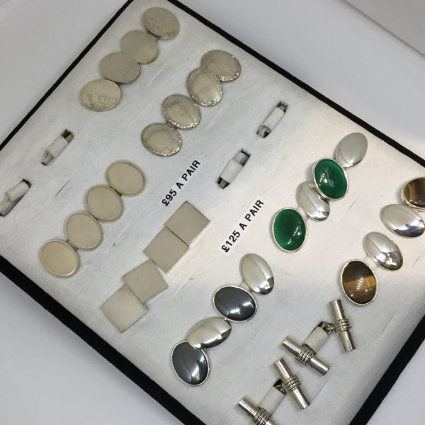 Selection of sterling silver cufflinks