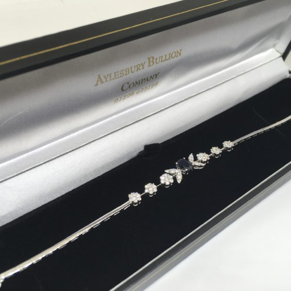 Preowned 18 carat white gold sapphire and diamond bracelet