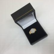 9 carat yellow gold diamond set hexagonal signet ring
