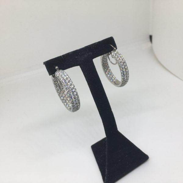18 carat white gold diamond hoop earrings