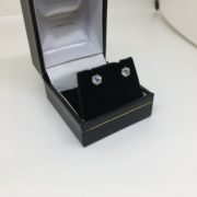 Preowned 18 carat white gold diamond single stone stud earrings