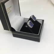 14 carat white gold tanzanite and diamond stud earrings