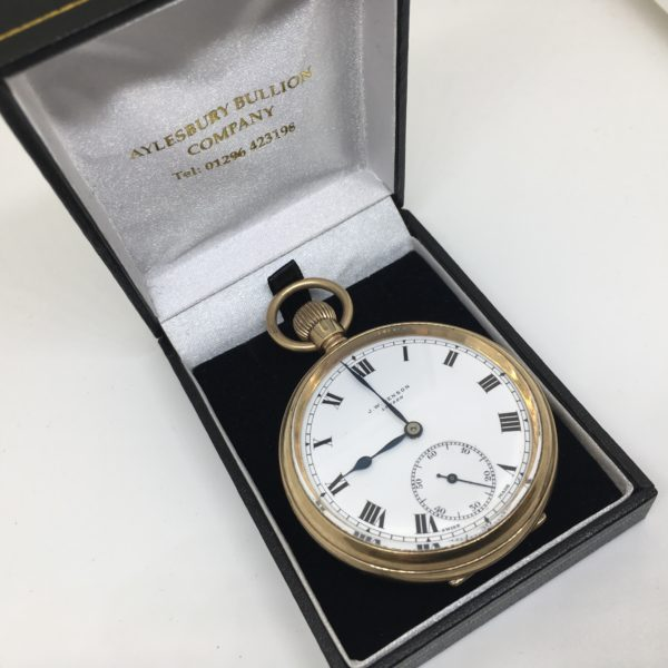 Preowned 9 carat yellow gold JW Benson pocket watch