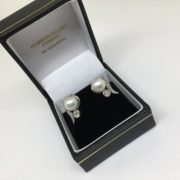 Preowned 18 carat white gold pearl and diamond earrings