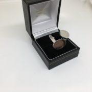 9 carat white gold oval swivel cufflinks
