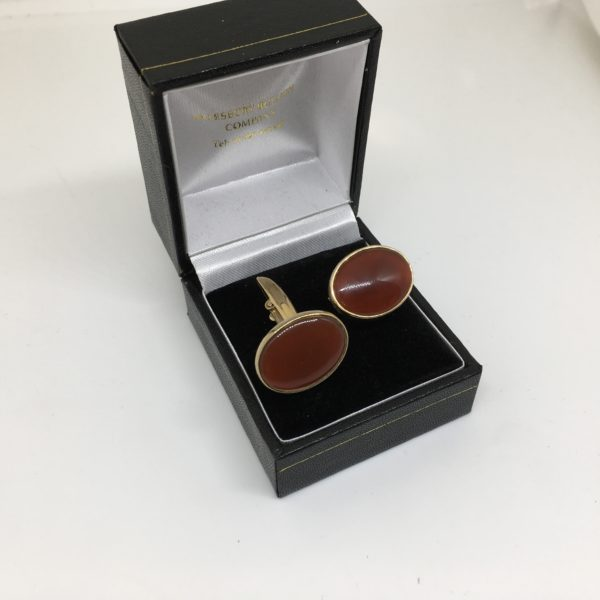 9 carat yellow gold cornelian swivel cufflinks
