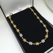 Preowned 9 carat yellow and white gold diamond necklace