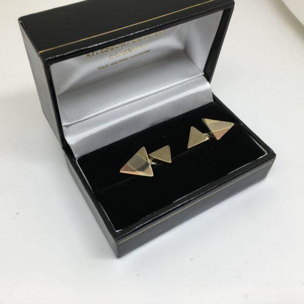 9 carat yellow, white and rose gold cufflinks