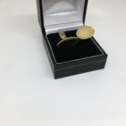 9 carat yellow gold oval swivel cufflinks with engraving