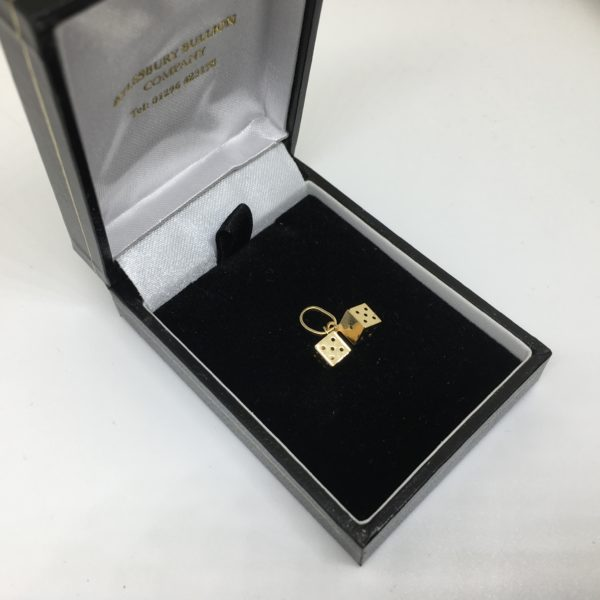 Preowned 9 carat yellow gold dice charm/ pendant