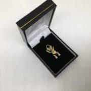 Preowned 9 carat yellow gold teddy bear charm/ pendant
