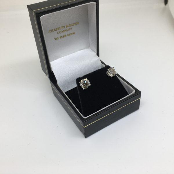 Preowned 18 carat white gold diamond earrings
