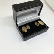9 carat yellow gold 1/2 engraved cufflinks
