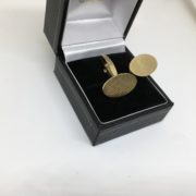 9 carat yellow gold textured swivel cufflinks