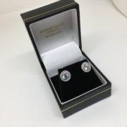 9 carat white gold CZ halo stud earrings