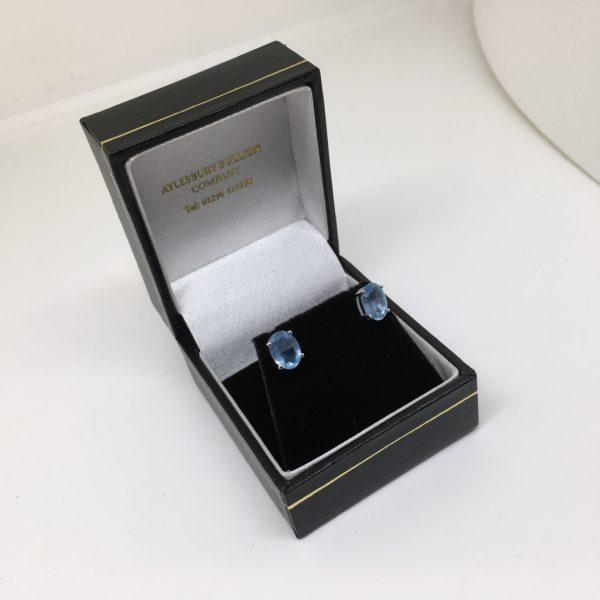 9 carat white gold aqua marine stud earrings
