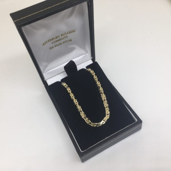 Preowned 9 carat yellow gold fancy box chain