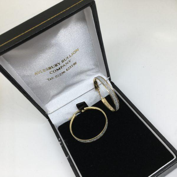 9 carat yellow gold sparkley hoop earrings