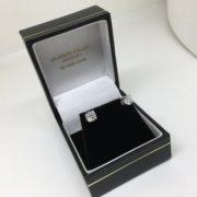 Preowned 18 carat white gold single stone diamond earrings