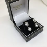 9 carat white gold pearl and CZ drop earrings