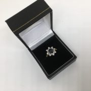 Preowned 18 carat yellow gold sapphire and diamond cluster ring