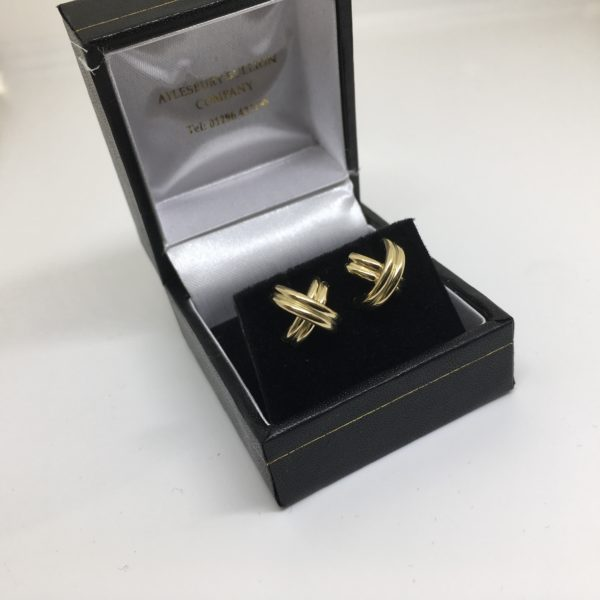 Preowned 9 carat yellow gold stud earrings