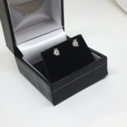 Preowned 9 carat white gold diamond stud earrings