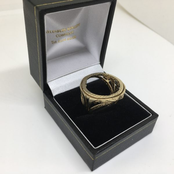 Preowned 9 carat yellow gold full sovereign ring
