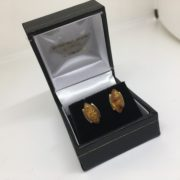 Preowned 9 carat yellow gold amber stud earrings