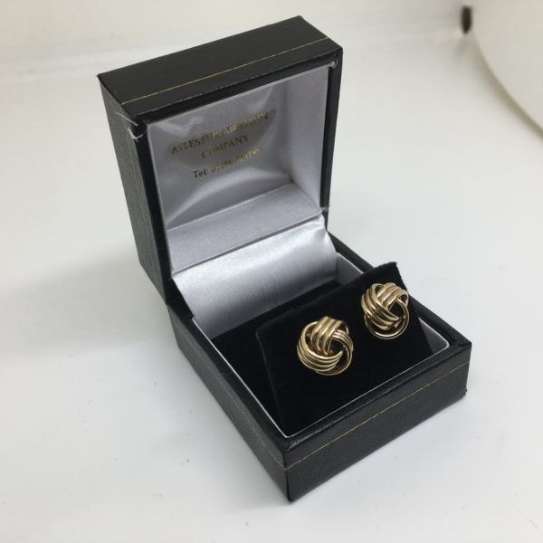 Preowned 9 carat yellow gold knot stud earrings