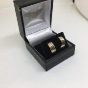 Preowned 9 carat 3 colour 1/2 hoop earrings