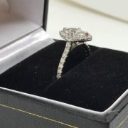 Platinum and diamond halo ring