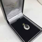 Preowned 9 carat 2 colour sapphire and diamond pendant