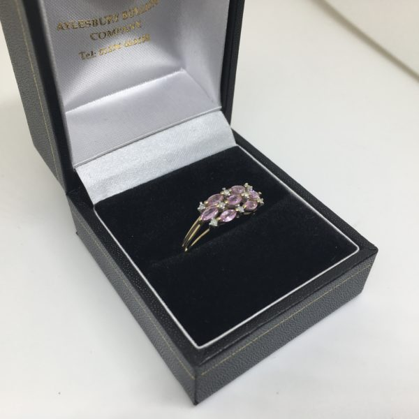 Preowned 9 carat yellow gold pink sapphire and diamond ring