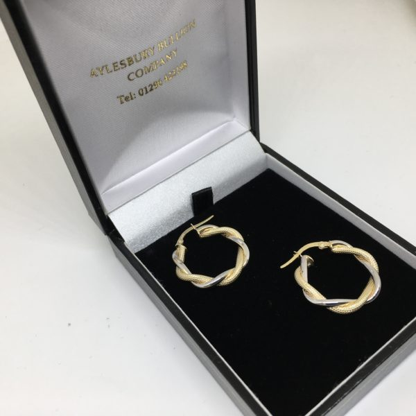 9 carat yellow and white gold twist hoop earrings
