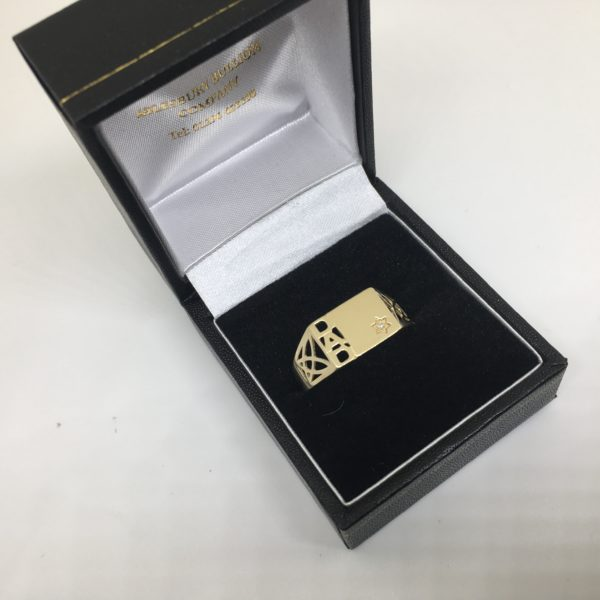 Preowned 9 carat yellow gold diamond DAD ring