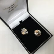Preowned 9 carat 2 colour clip on knot earrings