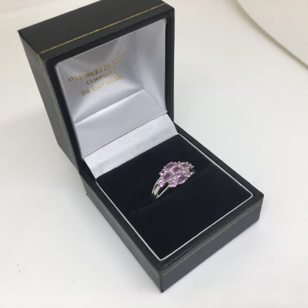 Preowned 9 carat white gold pink sapphire and diamond ring