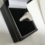 Preowned 9 carat white gold oval signet ring